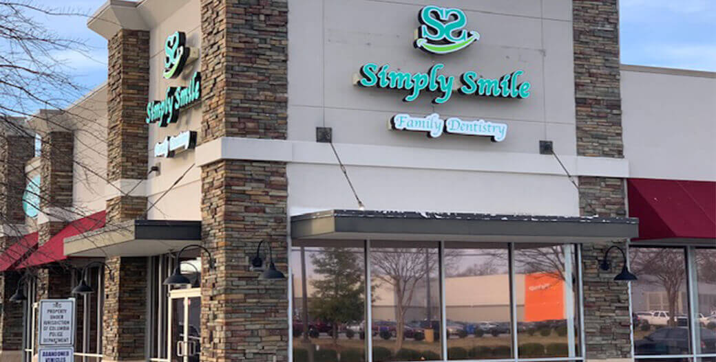 Storefront view of Simply Smile Family Dentistry, your family dentist in Columbia, South Carolina